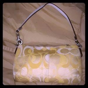 Coach yellow/white monogram C wristlet/small purse